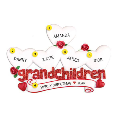 Grandchildren with 5 Hearts Table Top Decoration