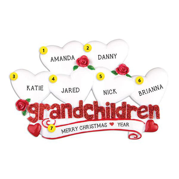 Grandchildren Ornament with 6 Hearts for Christmas Tree