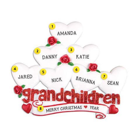Grandchildren Ornament with 7 Hearts