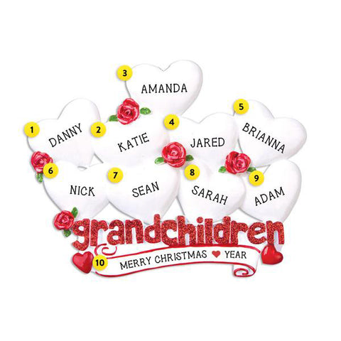 Grandchildren with 9 Hearts Table Top Decoration