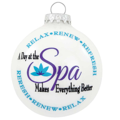 A Day Spa Glass Christmas Ornament