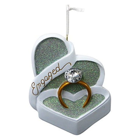 Engaged Heart Shaped Box Ornament