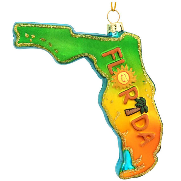Florida Shaped Glass Christmas Ornament