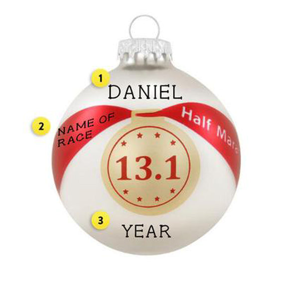 Half Marathon Bulb Christmas Tree Ornament