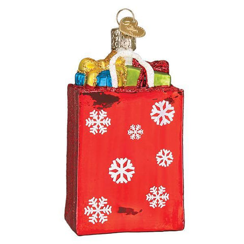 Holiday Shopping Bag Christmas Ornament Blown Glass Red Bag