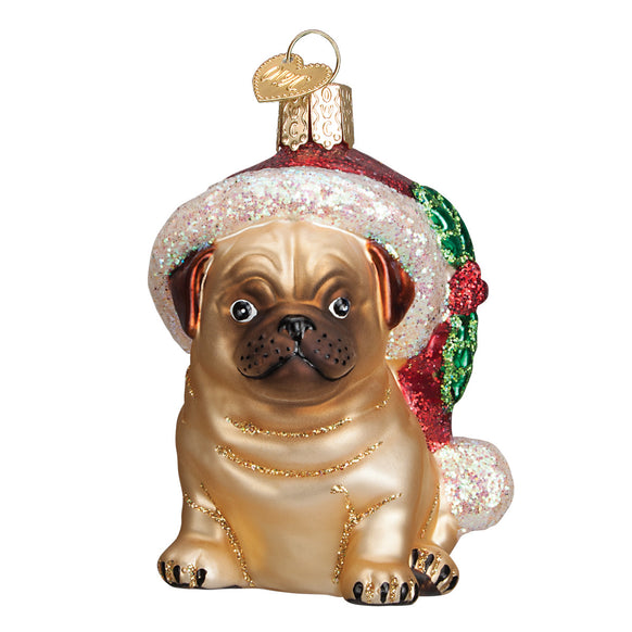 Holly Hat Pug Ornament for Christmas Tree