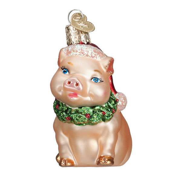 Holly Pig Ornament for Christmas Tree