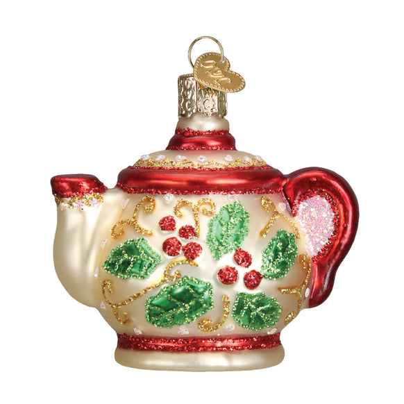 Holly Teapot Ornament for Christmas Tree