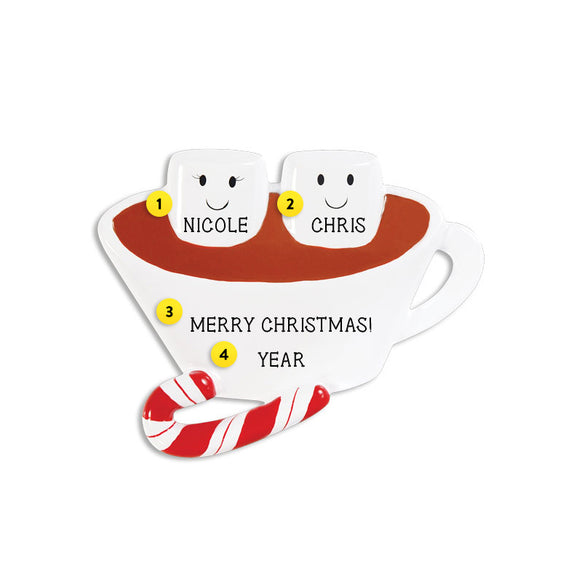 Hot Chocolate Couple Ornament for Christmas Tree