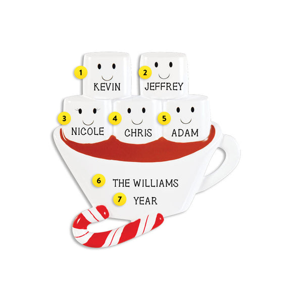 Hot Chocolate Family of 5 Ornament for Christmas Tree