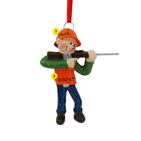 Hunting Boy Blaze Orange Ornament for Christmas Tree