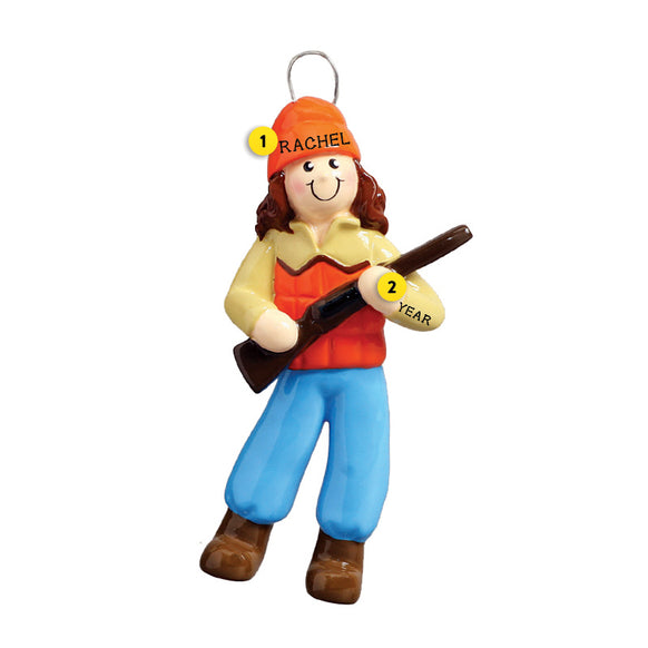 Hunting Girl Blaze Orange Ornament for Christmas Tree