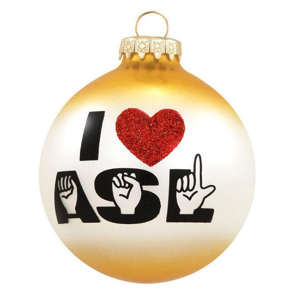 I Love ASL Ornament for Christmas Tree