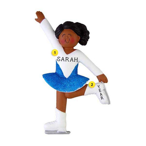 Ice Skating Ornament - African-American Female