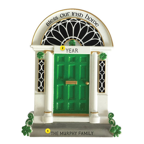 Bless our Irish home green door with Shamrocks resin ornament