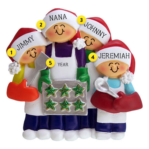 Baking Cookies Family of 4 Ornament For Christmas Tree
