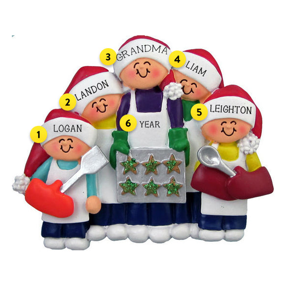 Baking Cookies Family of 5 Ornament For Christmas Tree
