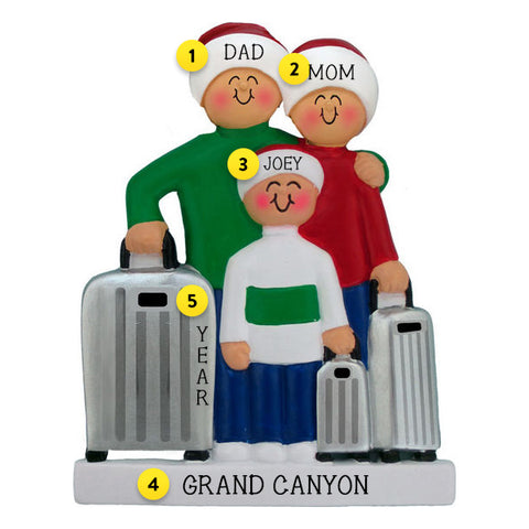 Traveling Family of 3 Ornament For Christmas Tree