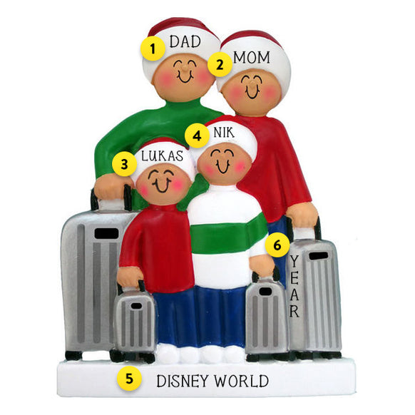 Traveling Family of 4 Ornament For Christmas Tree