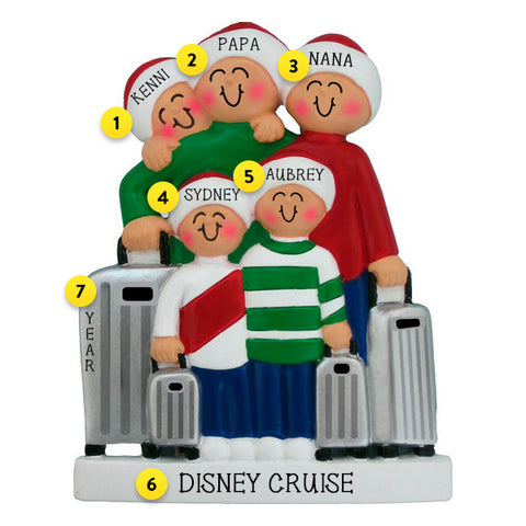 Traveling Family of 5 Ornament For Christmas Tree