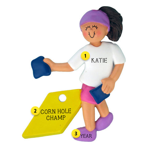 Corn Hole Ornament: Female, Brunette