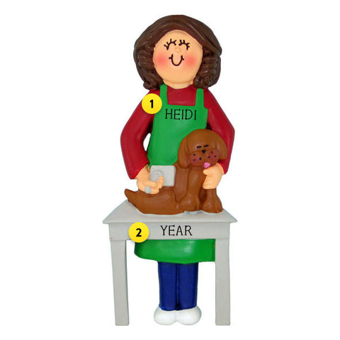 Dog Groomer Ornament- Female, Brunette