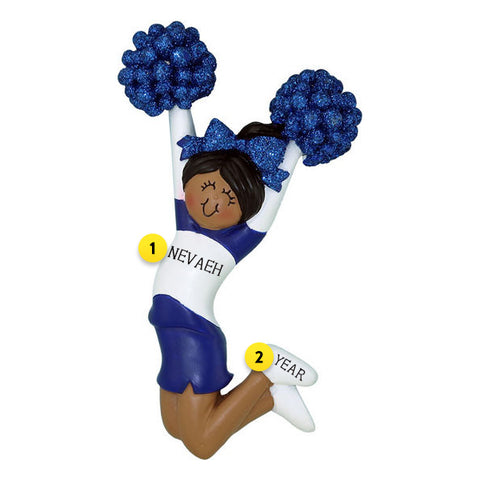 Cheerleader Blue Uniform Ornament- Female, African American