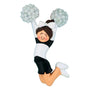 Cheerleader Black Uniform Ornament- Female, Brunette