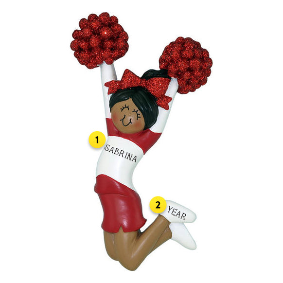 Cheerleader Red Uniform Ornament - Female, African American