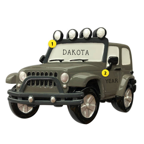 Grey Green Colored Jeep resin ornament