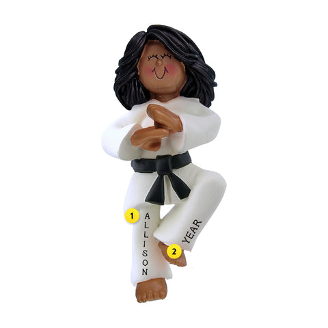 Karate Ornament - Black Female for Christmas Tree
