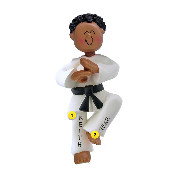 Karate Ornament - Black Male for Christmas Tree
