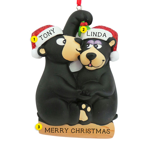 Kissing Under the Mistletoe Bear Couple Ornament for Christmas Tree