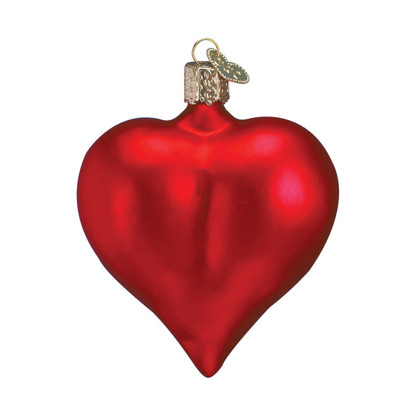 Large Matte Red Heart Ornament for Christmas Tree