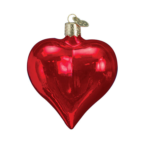 Large Shiny Red Heart Ornament for Christmas Tree