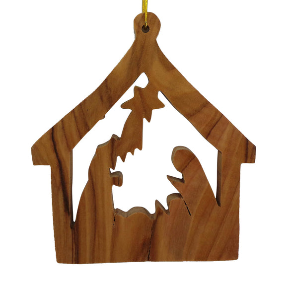 Large Stable with Nativity Ornament for Christmas Tree
