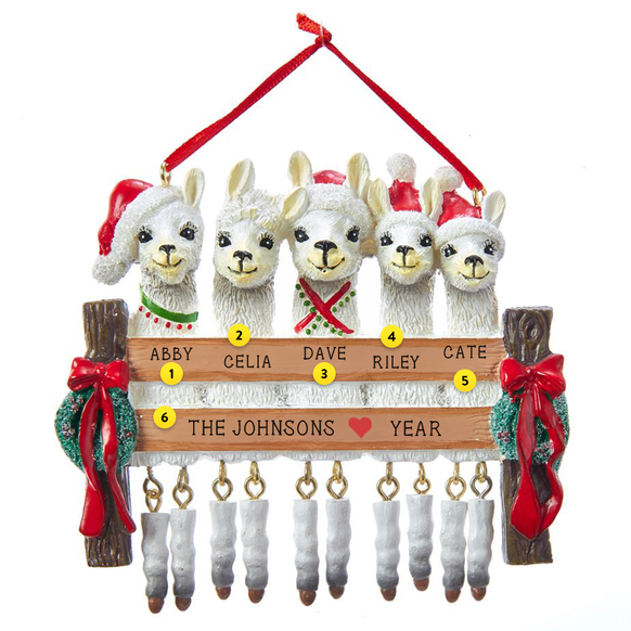 Llama Family of 5 Ornament For Christmas Tree