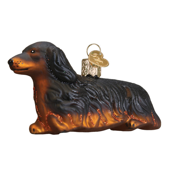 Long-Haired Dachshund Ornament for Christmas Tree