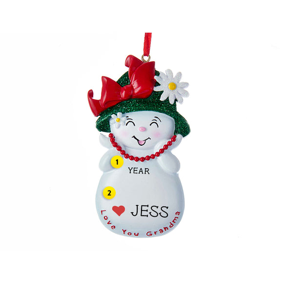 Love You Grandma Snowwoman Ornament for Christmas Tree