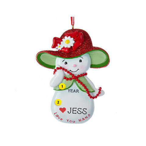Love You Nana Snowwoman Ornament for Christmas Tree