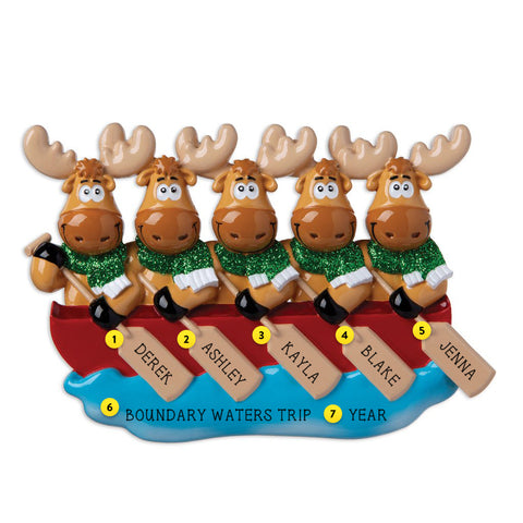 Moose Family  of 5 in Canoe personalized resin ornament