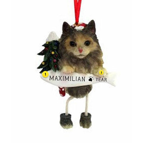 maine coon cat christmas ornament personalized on a fish