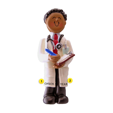 Doctor Ornament - Black Male for Christmas Tree
