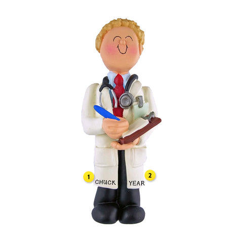 Doctor Ornament - White Male, Blond Hair for Christmas Tree