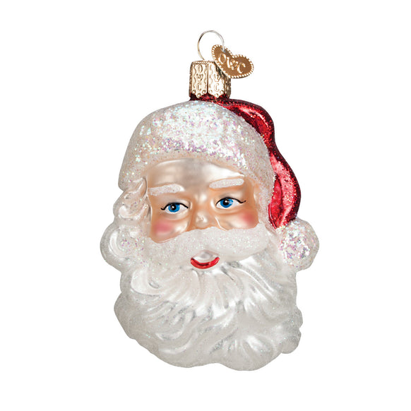 Mid-Century Santa Head Ornament for Christmas Tree