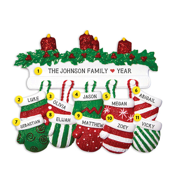 Mitten Family of 10 Ornament for Christmas Tree