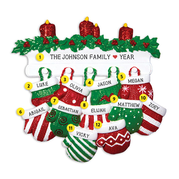 Mitten Family of 11 Ornament for Christmas Tree