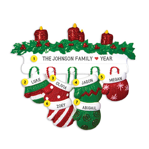Mitten Family of 6 Ornament for Christmas Tree