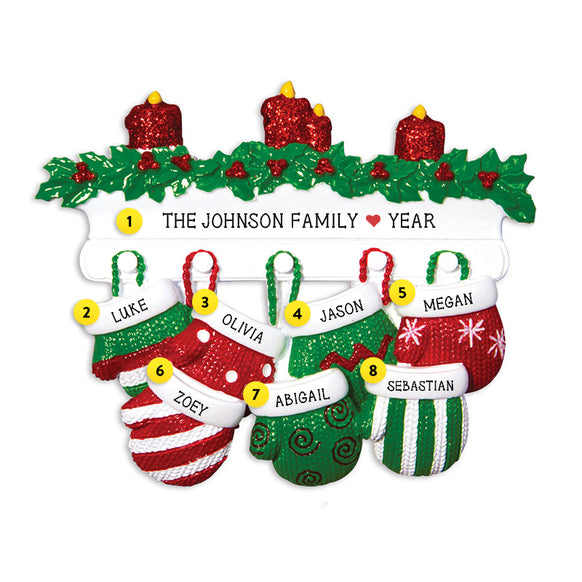 Mitten Family of 7 Ornament for Christmas Tree