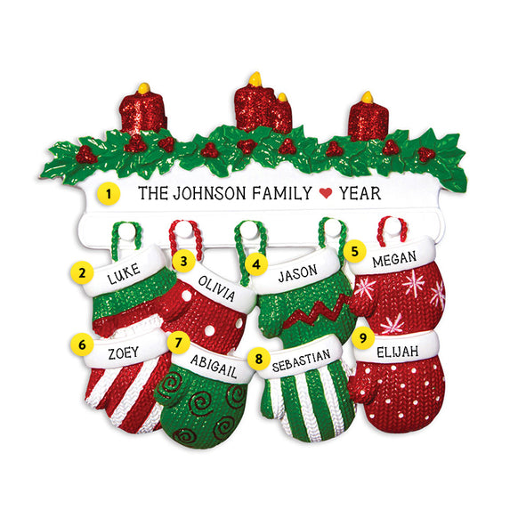 Mitten Family of 8 Ornament for Christmas Tree